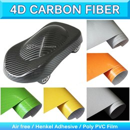 Wholesale 4d Car - Shinny 4D Carbon Fiber Film Glossy Carbon Fiber Foil Car Wrap Sticker Textured Vinyl Wrap Air Free Bubble 1.52x30m 5x95Ft