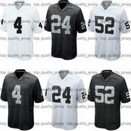 Wholesale American Football Jerseys Wholesale - DHL Shipping Cheap Men's American Football #24 Jersey Wholesale Black White Fashion #4 #52 Game American Football Jerseys