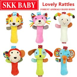 Wholesale Cat Baby Rattle - Top 20cm Infant Baby Rattles Crib Stroller Toy 0-12 months Plush with sound Cat dog early educational Monkey Lion Bed Baby Play
