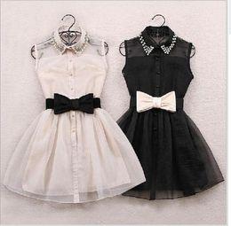 Wholesale Pearls Waist Belts - Womens Pearl Diamond Casual mini Dress 2015 hot white black Small Lapel Gauze Waist Tutu Party One-piece short dress with bow belt 0105