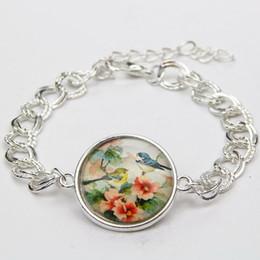 Wholesale Glasses La - Wholesale-2015 Vintage Faith Jewelry Retro Flower Bird Glass Cabochon Bracelet Wome's Decoration Silver Bracelet Pulsera de la Mujer