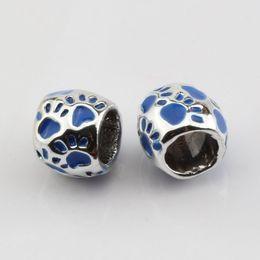 europäische kautschukperlen Rabatt Heiß ! 50 stücke Blau Emaille Footprint Großes Loch Spacer Perlen Fit Armband 8x10mm DIY Schmuck
