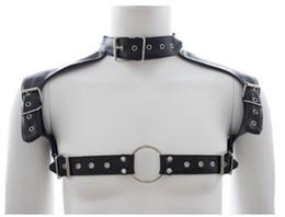 Wholesale Neck Wrist Restraint Male - Soft PU Leather BDSM Bondage Male Chest Harness Restraint Belts Shoulder Gay Strap Neck Collar Cool Adults Sex Toys For Men