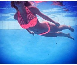 Wholesale Neon Bathing Suits - Push Up Bikini Brazilian 2016 Hot Bandeau String Bathing Suits Strap Swimsuit Biquini Women Swimwear Padded Bra Neon Bikini Set C0106-9