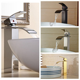 Wholesale Nickel Plating Brass - Wholesale And Retail Free Shipping Waterfall Spout Solid Brass Bathroom Basin Faucet Single Handle Hole Vanity Sink Mixer Tap