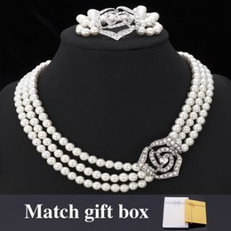 Wholesale Ivory Rhinestone Necklace - U7 European Pearl Jewelry Set Choker Pearl Necklace Bracelet Set Rose Shaped Rhinestone With Gift Box Fashion Women Jewelry Accessories