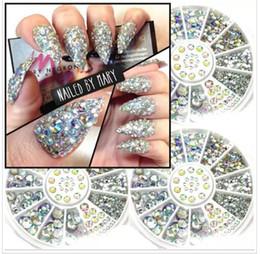 Wholesale Glitter Studs - Nail Art Decorations 3D Nail Art Rhinestones Crystal Glitter Nails Wheel Decorations For DIY Studs Free Shipping