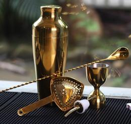 Wholesale Spill Stop - Golden Bar Tools Set Cocktail Shaker Stirring Spoon 2016 Measuring Jigger Spill-Stop Liquor Pourer Pour Spout Strainer