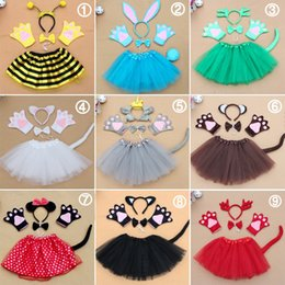 Wholesale fancy dress bee - 5PCS Child Kids Animal Kit Rabbit Mouse Bee Cat Ears Headband Tail Dress Set Birthday Party Fancy dress