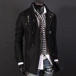 Wholesale Mens Woolen Trench Coat - Fall-Mens overcoat Autumn Winter brand men wool windbreaker New fashion Woolen coat jacket long black trench coat men Coats Jacket
