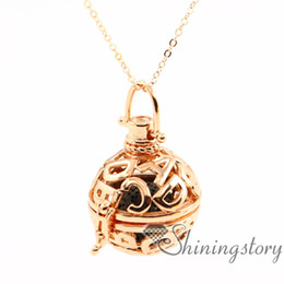 Wholesale Abc Wholesale Gifts - ABC openwork essential oil necklace diffuser locket wholesale essential oil necklace diffuser aromatherapy pendant metal volcanic stone
