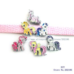 Wholesale Dog Charms Mix - Mix style My Little Ponys 8mm Slide Charms Fit Pet Dog Cat Tag Collar Wristband