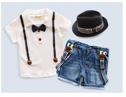 Wholesale Boys Cowboy Shirt - 2018 Summer Baby Boys 3pcs Gentleman Clothes Set Short Sleeve T-shirt With Bow Tie+Cowboy Suspender Trousers+Hat Kids Clothing Child Outfits
