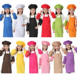 Wholesale Gadgets Children - 12 Colors 3pcs set Kids Aprons with Sleeve&Chef Hats Painting Gadgets Cooking Baking Waists Children Kitchen Aprons