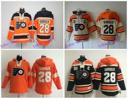 Wholesale Hoody Sports - 2016 Old Time Hockey Jerseys Philadelphia Flyers Hoody 28 Claude Giroux Hoodie Sports Authentic Pullover Sweatshirts Jacket
