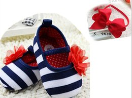 Wholesale Girl Fabric Flower Hairband - Infant Toddler Stripe Flower Crib Shoes Soft Sole Kid Girls Baby Shoes Prewalker,3pcs shoes+3pcs hairband,baby princess shoes 6pieces lot