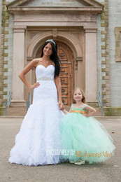 Wholesale Mint Green Girls Pageant Dress - 2015 Latest With Straps Girl's Pageant Dresses Ball Gown Mint Color Soft Tulle Floor-length Cute Tutu Flower Girl Dresses