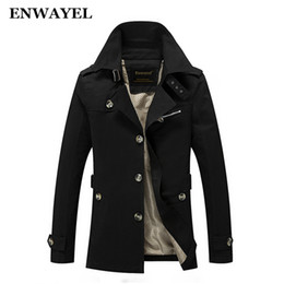 Wholesale trench coat epaulets - Wholesale- ENWAYEL 2017 Spring Autumn Jacket Men Slim Fit Trench Coat Mens Cotton Button Male Casual Windbreaker Overcoat Jackets Coat 8888