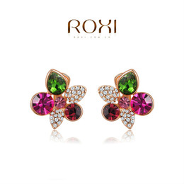 Wholesale Ear Cuffs Stones - 015 ROXI 2014 New Fashion Jewelry Rose Gold Plated Colorful Stone Flowers Clip Earrings For Women Party Wedding Free Shipping
