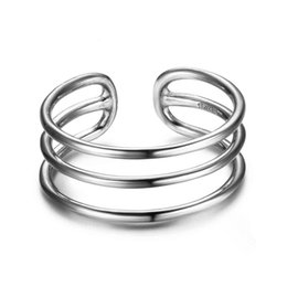 Wholesale Real Silver Finger Ring - New Women Real 925 Sterling Silver Sizable Rings Treble Layers with Open Cuff Adjustable Finger Rings