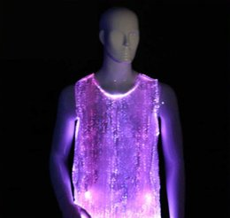 Wholesale Ballroom Man - Evening Wedding LED Glowing Gown LED Party Wear shirt new design fiber optic wholesale glow in the dark T shirt