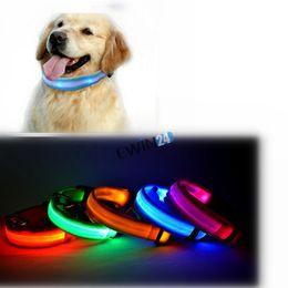 iluminar productos Rebajas Dog Pet Cat Parpadeante Light Up Nylon Collar Night Safety Collars Supplies Productos S M XL Talla