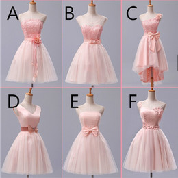 Wholesale Short Strapless White Chiffon Dress - Pink Lace Chiffon Bridesmaid Dress With Bow 2017 Strapless Party Dress A-F 6 Style Mixed Order