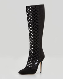 Wholesale Delta Wedges - Delta Cutout knee Boot black suede lace pointed bootie women high heel tall boots summer boot