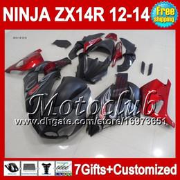 carenado zx14 negro Rebajas 7cambios para KAWASAKI NINJA ZX-14R 12 13 12 13 Negro mate ZX14 R 25C46 ZX 14R 2012 2013 2012 2013 ZX 14 R Rojo caliente negro ZX14R 12-13 Fairing