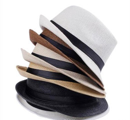 Wholesale Beach Straw Hat Men - Vogue Men Women Straw Hats Soft Fedora Panama Hats Outdoor Stingy Brim Caps Colors Choose 0350