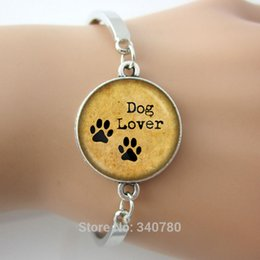 Wholesale Hand Cuffs Black - DOG LOVER Hand Crafted bangles Pet Paws bangle, Gift for Dog Lover bangle bracelets antique silver plated glass dome cuff bangle