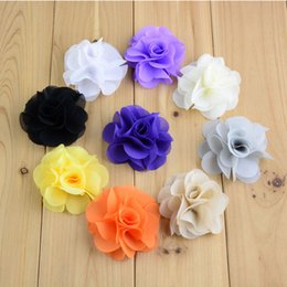 Wholesale Neon Flowers - Summer Sytle 2.56Inch Neon Chiffon head Flowers Flat back For Baby Girls Headband 100pcs lot Kids Hair accessories