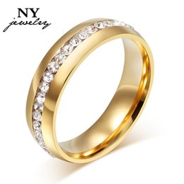 Wholesale Steel Plate Discount - 18k gold plated crystal wedding rings for wome stainless steel ring promotion discount