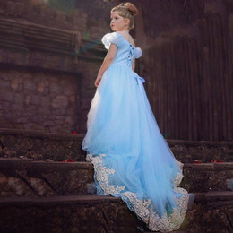 Wholesale Cinderella Dresses For Girls - New Girl dress costumes cosplay lace embroidery dress cinderella ball gown for girls 5p l free shipping