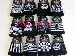 Wholesale Nightmare Before Christmas Gloves - Free shipping, wholesale 200 Pairs Skull nightmare before Christmas Fingerless gloves Children's Christmas gift