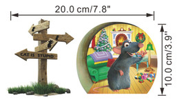 Wholesale Wall Paper Stickers Children Animals - 3D Effect Cat Is Stupid Christmas Mouse Rat Hole Wall Sticker Decal Children Baby Kids Room Window Wall Stickers