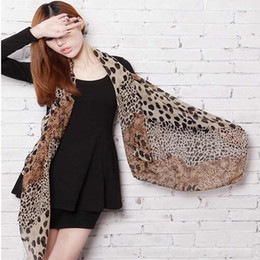 Wholesale Wholesale Leopard Print Scarf - Wholesale- 2014 Hot Sell Sexy Fashion Shinning Leopard Print Chiffon Shawl Scarf for Women and Girls High Quality
