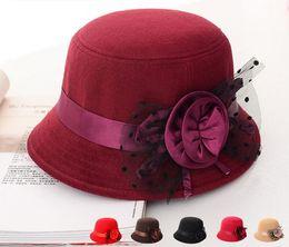 Wholesale Womens Red Fedora Hat - 2016 elegant hats womens vintage bowler trilby fashion lady fedoras flower felt cap black red princess wide brim hats for women sun caps