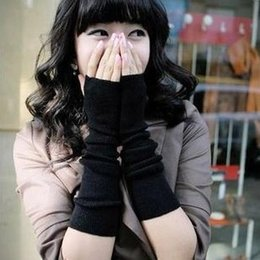 Wholesale Check Arm - New Arrivals 2016 Women Winter Knitted Fingerless gloves adult Lady solid color Wrist arm Warmer Gloves 8colors