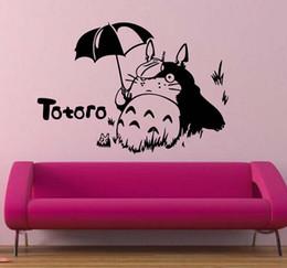 papierlüfterwand Rabatt Anime Cartoon Regenschirm Totoro Kinderzimmer oder Baby Kinderzimmer Kinder Wand Papier Aufkleber Wandaufkleber Aufkleber Home Decor für Anime Fans