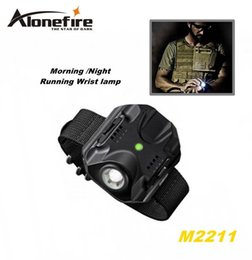 Wholesale White Led Running Lights - ALONEFIRE M2211 CREE XPE R2 LED 5 model Built-in battery Morning Night Run Wrist lamp Tactical light flashlight