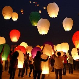 Wholesale Hot Balloon Heart - 5Pcs Lot Paper Chinese Lanterns Flying Wishing Lamps Hot Air Balloon Fire Love Heart Sky Lantern for Birthday Wedding Party Favors YT0098