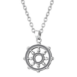 Wholesale Wiccan Charms Wholesale - Factory Price Wiccan Or Solomon Compass Design Pendant Anchor Link Chain Sports Magic Necklace Drop Shipping