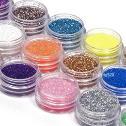 Wholesale Nail Tip Glitter Colors - good quality 18 Colors Nail Art Glitter Powder Dust For UV GEL Acrylic Powder Decoration Tips 18pcs box free shipping DHL #6668