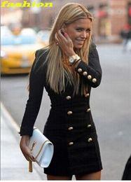 Wholesale Woman Double Breasted Dress Coat - V-Neck Slim Double Breasted Jacket Knit Cardigan Women Winter Jacket Coat Medium Long Casual Jacket Long Sleeve Dress free shipping