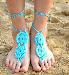 Wholesale Crochet Sandals For Women - Good Quality Barefoot Sandals Wedding Cotton Knit Crochet For Women Anklet Beach Crochet Yoga Dance Foot Manual Knitting Party Anklets DC