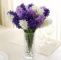 künstliche blumen hyazinthe Rabatt Silk Hyacinth Blume Künstliche Sonnenenergie Blumen für Hochzeit Dekorationen FakeLamp Bouquet Home Decor Party Dekoration