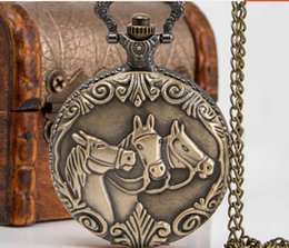 Wholesale Hanging Watch Necklace - Large horse retro flip antique pocket watch necklace female Korean sweater hanging chain fashion fashion student table table