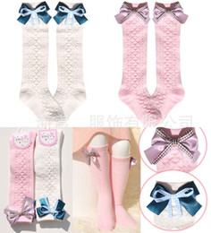 Wholesale Korean Knitted Dresses - Kid Princess Socks For Kids Girl Dress Korean Baby Girls Cotton Sock 2015 Autumn Knit Knee High Socks Children Clothes Kids Clothing C10485