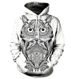 Coruja hoodies on-line-2017 Mais Novo Moda Mulheres / Homens Animal Coruja Arte Engraçado 3D Impresso Casual Hoodies Moletom Plus Size S-5XL 86